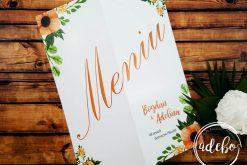 meniu nunta cu flori portocalii