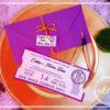 Invitatie botez - Bilet de teatru mov