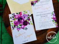 Invitatie nunta cu flori mov