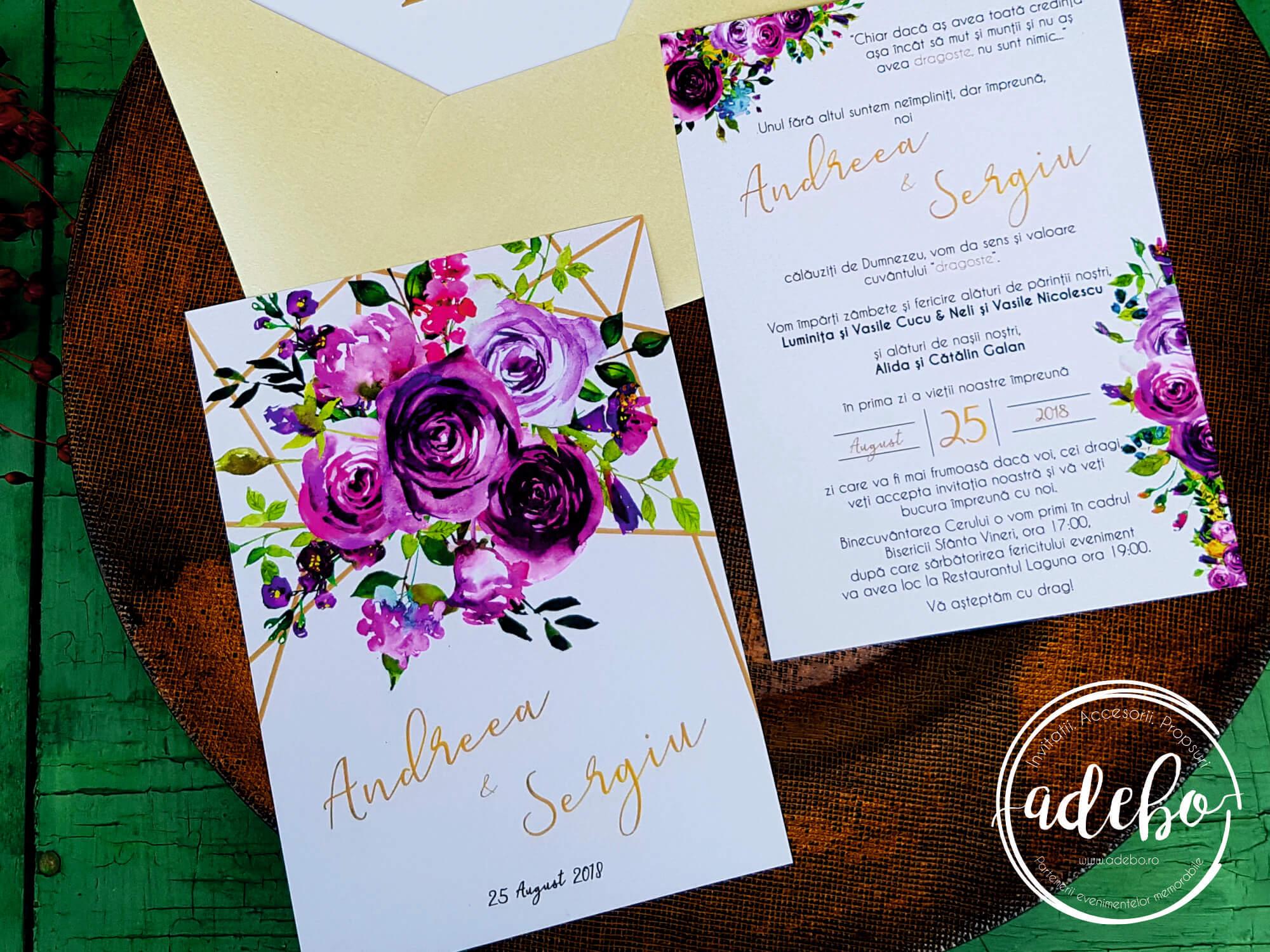 Invitatie Nunta Malva Invitatie Nunta Cu Flori Mov By Adebo Design