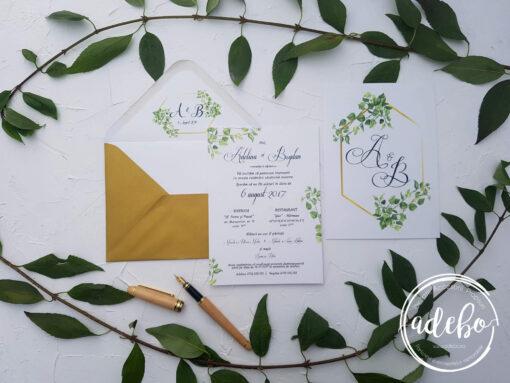 Invitatie nunta Greenery