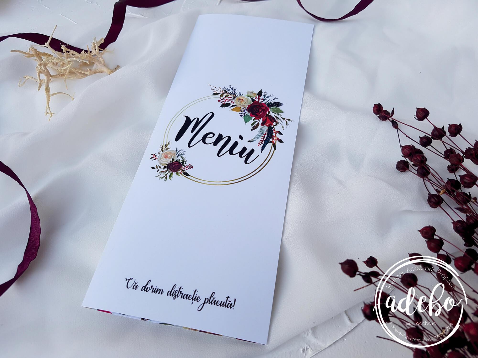 Meniu Nunta Rina Accesorii Nunta Papetarie Nunta