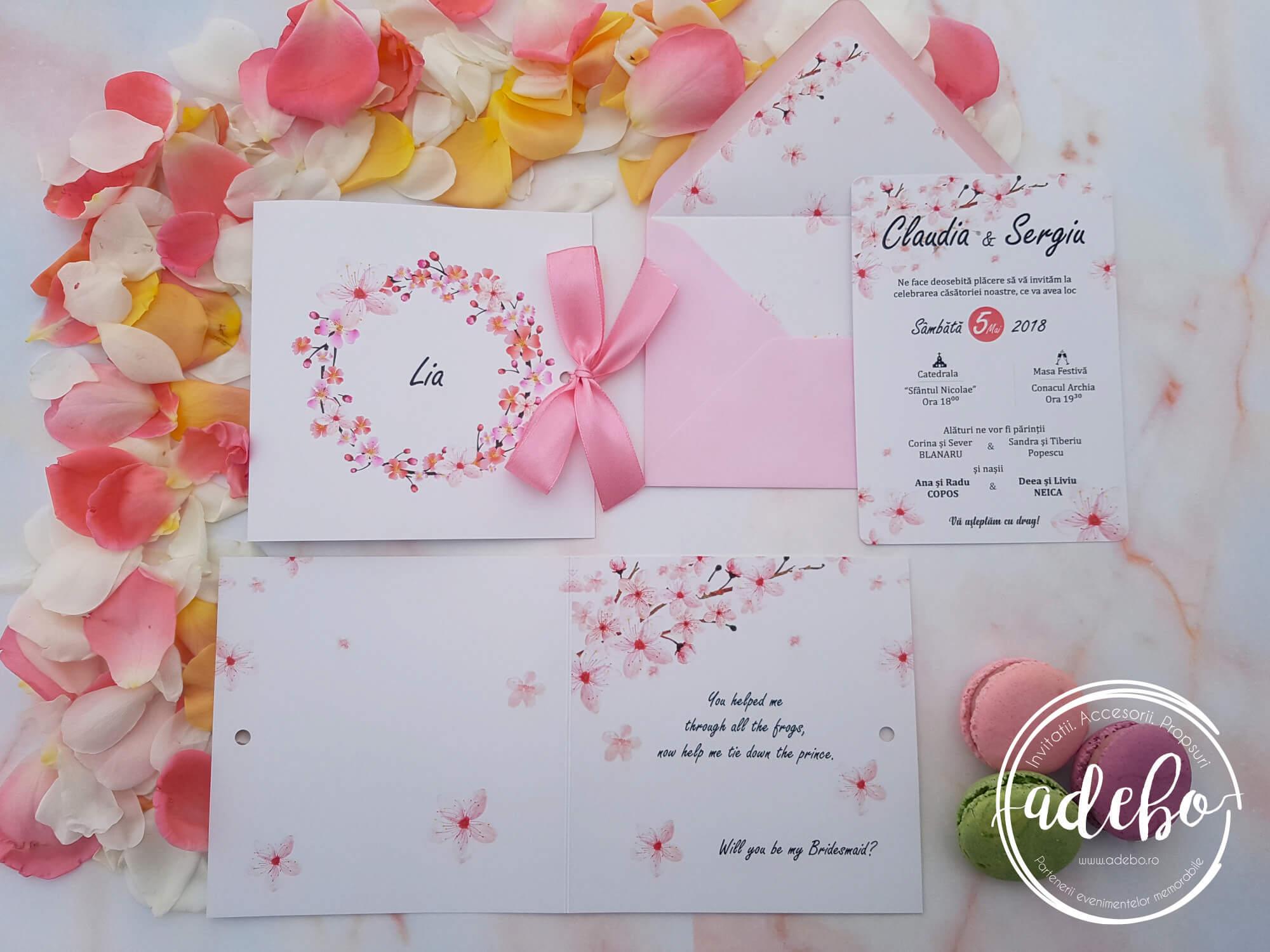 Invitatie Nunta Flori De Cires Invitatii Personalizate Invitatii
