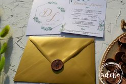 Invitatie nunta Gold and Green 2