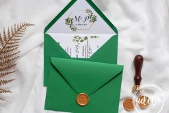 Invitatie nunta Greenery cu plic verde 1