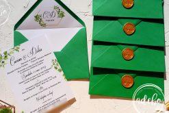 Invitatie nunta Greenery cu plic verde 5