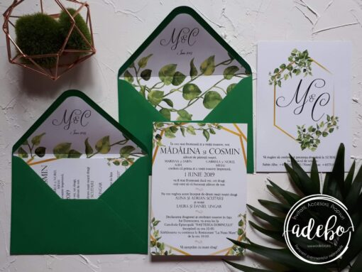 Invitatie nunta Greenery and Gold 1