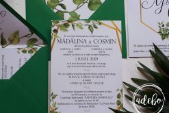 Invitatie nunta Greenery and Gold 2