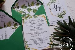 Invitatie nunta Greenery and Gold