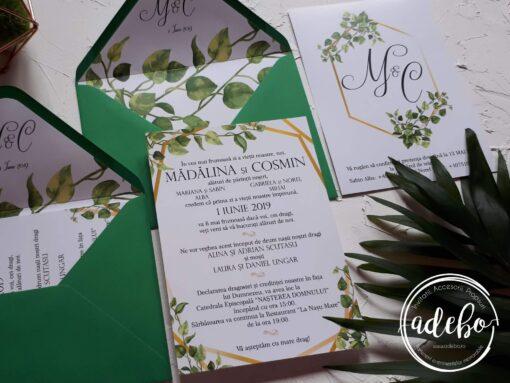 Invitatie nunta Greenery and Gold