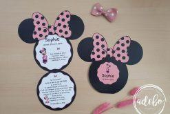 Invitatie botez Minnie Mouse - roz deschis