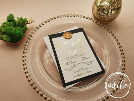 Invitatie nunta Luxury Gold