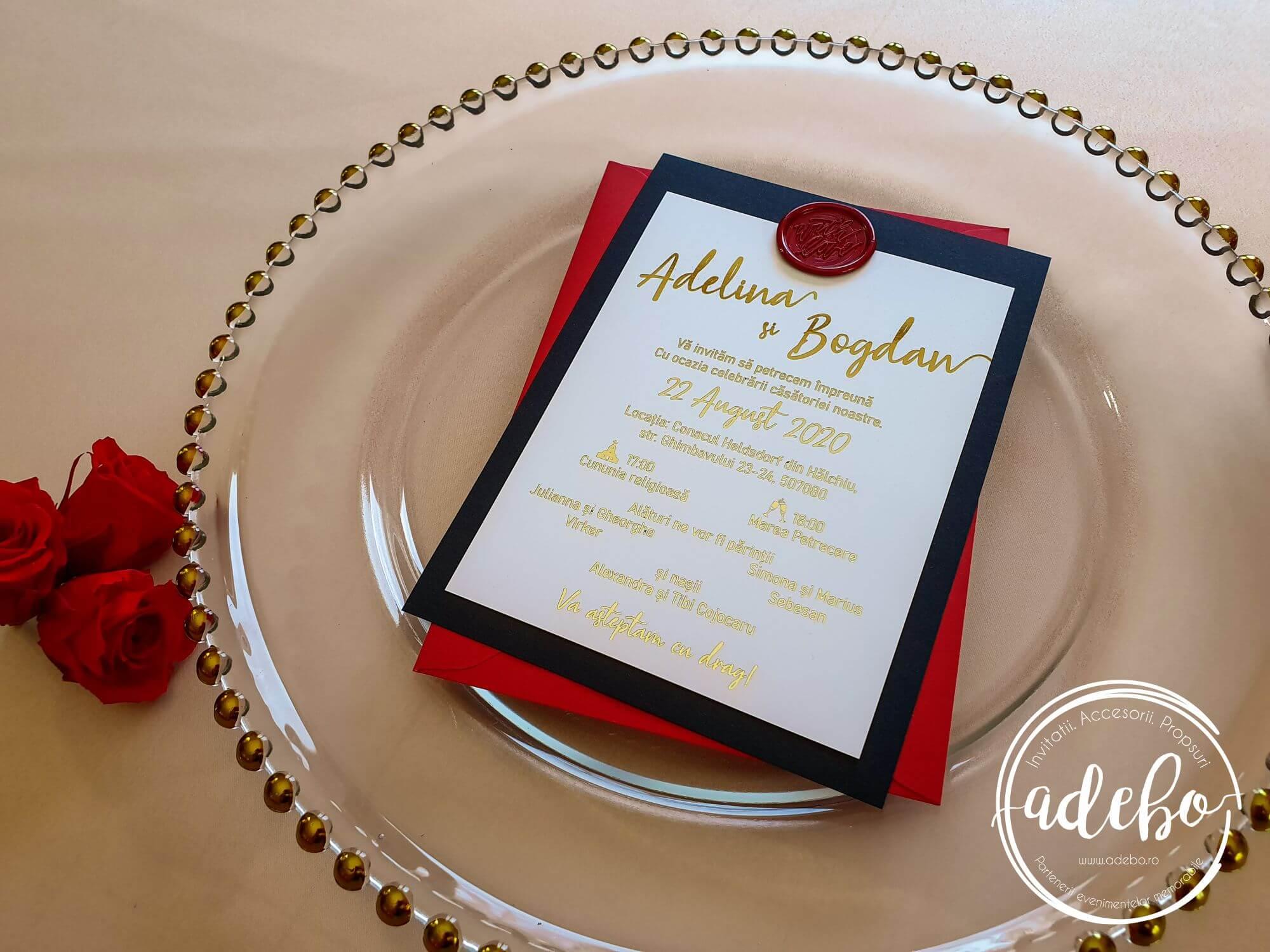 Invitatie nunta Luxury Red