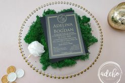 Invitatii nunta plexiglas - Gold Lines