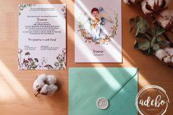 Invitatie botez flori bumbac