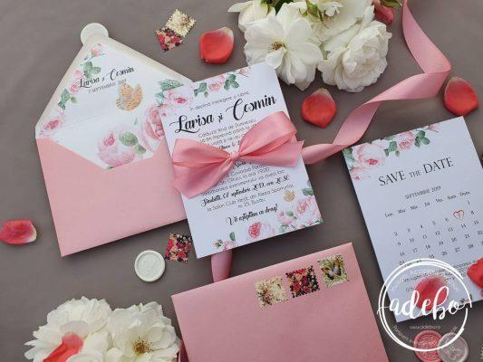 Invitatie nunta Bujori Roz