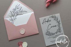 Invitatie nunta Vellum Rose