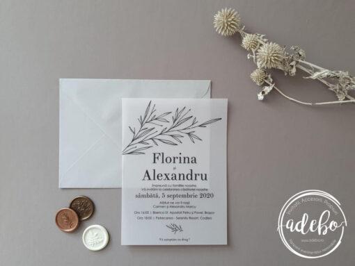 Invitatie nunta carton vellum