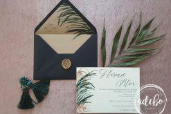 Invitatie nunta Areca Palm Black