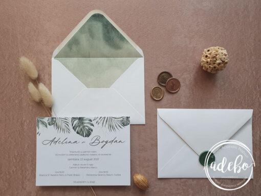 Invitatie nunta Monstera