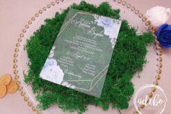 Invitatii nunta plexiglas - Baby Blue